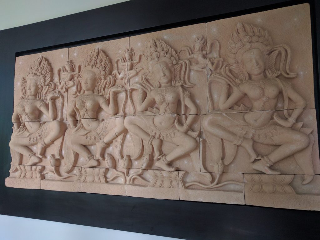 There are many Khmer-style artworks scattered around the hotel